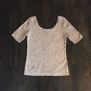 Banana republic dusty pink rose gold sequin shirt